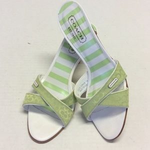 COACH Signature Green Slide Sandals Size 6